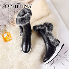 SOPHITINA Winter New Boots Super Warm Comfortable Round Toe Fashion Zipper Wedge Solid Handmade Hot Sale Shoes Women Boots PO332(China)