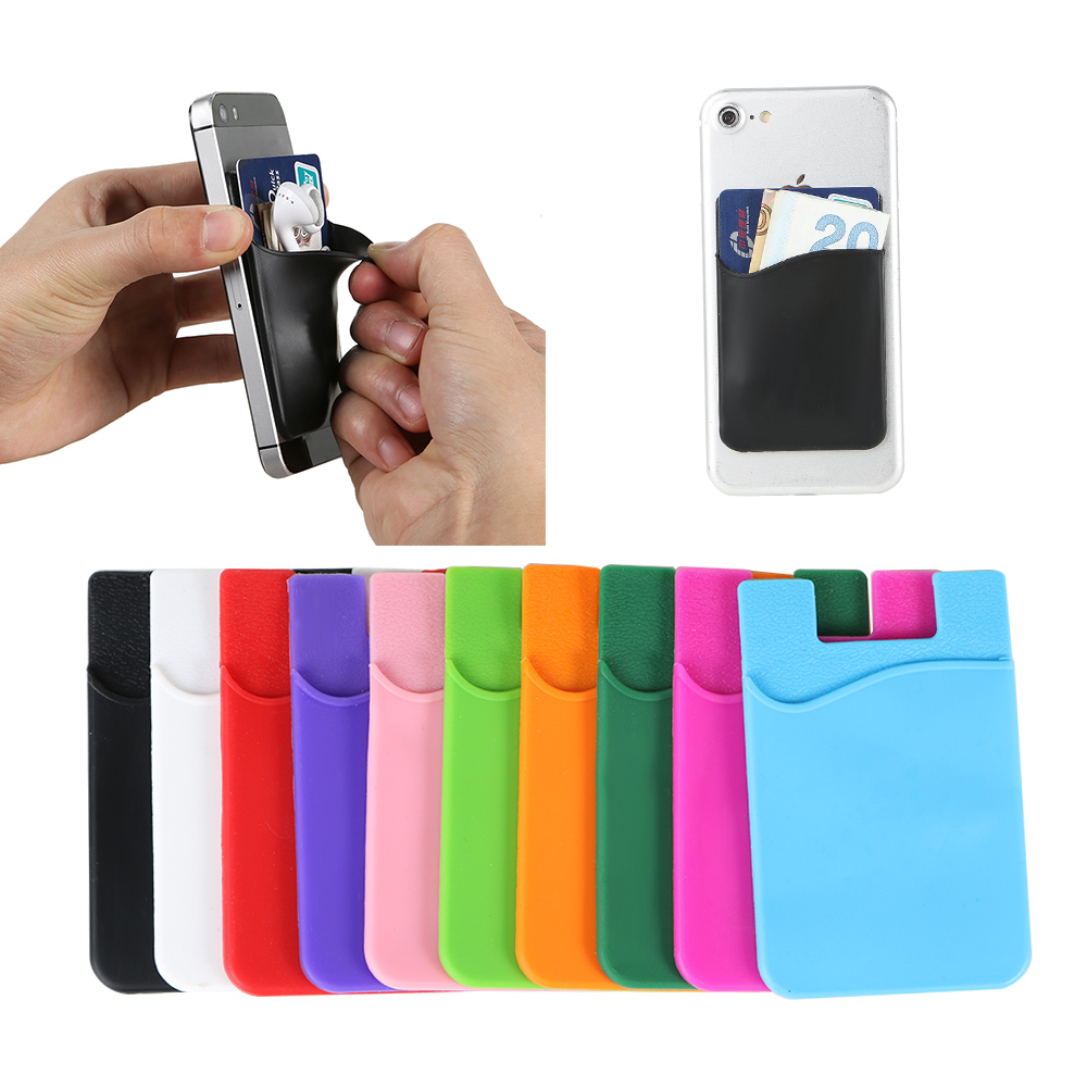 Elastic Stretch Lycra Adhesive Cell Phone ID Credit Card Holder Women Men Sticker Pocket Wallet Case Card Holder Fit Most Phone