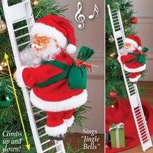 Прекрасный музыкальный Рождественский Санта-Клаус, электрическая подвесная лестница, украшение для рождественской елки, забавные новогодние подарки для детей