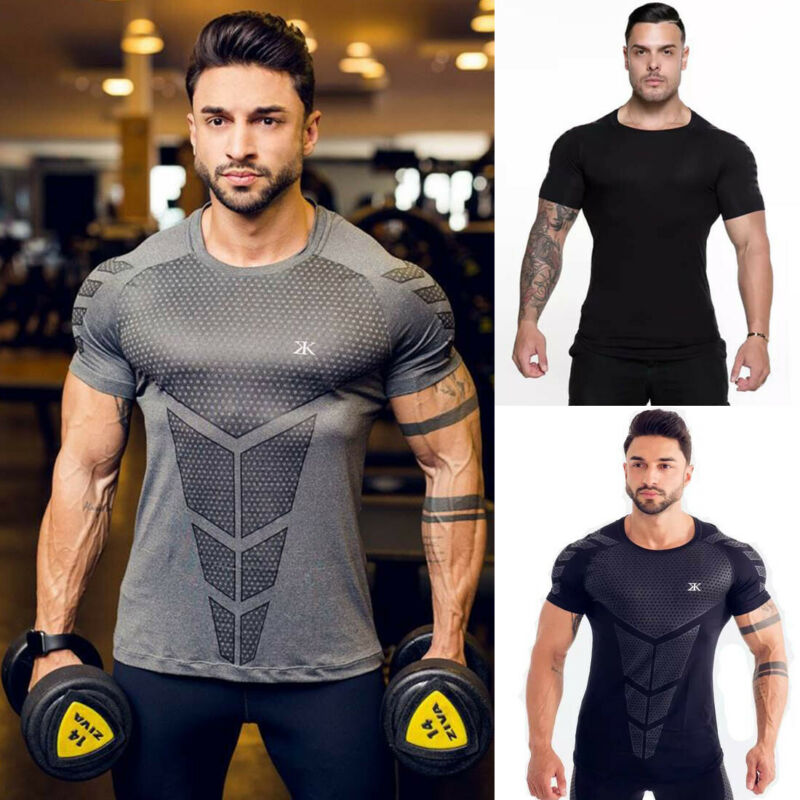 Homme à Manches Courtes Muscle Tee T-shirt Bodybuilding Running Sports Gym Shirts la