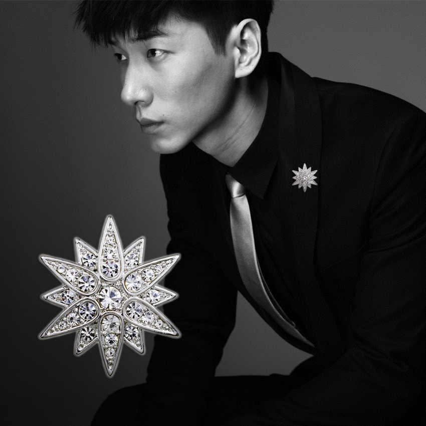 韓国のファッションキュービックジルコブローチピン男性のラペルボタンスーツコサージュバッジシャツ襟アクセサリージュエリー高級