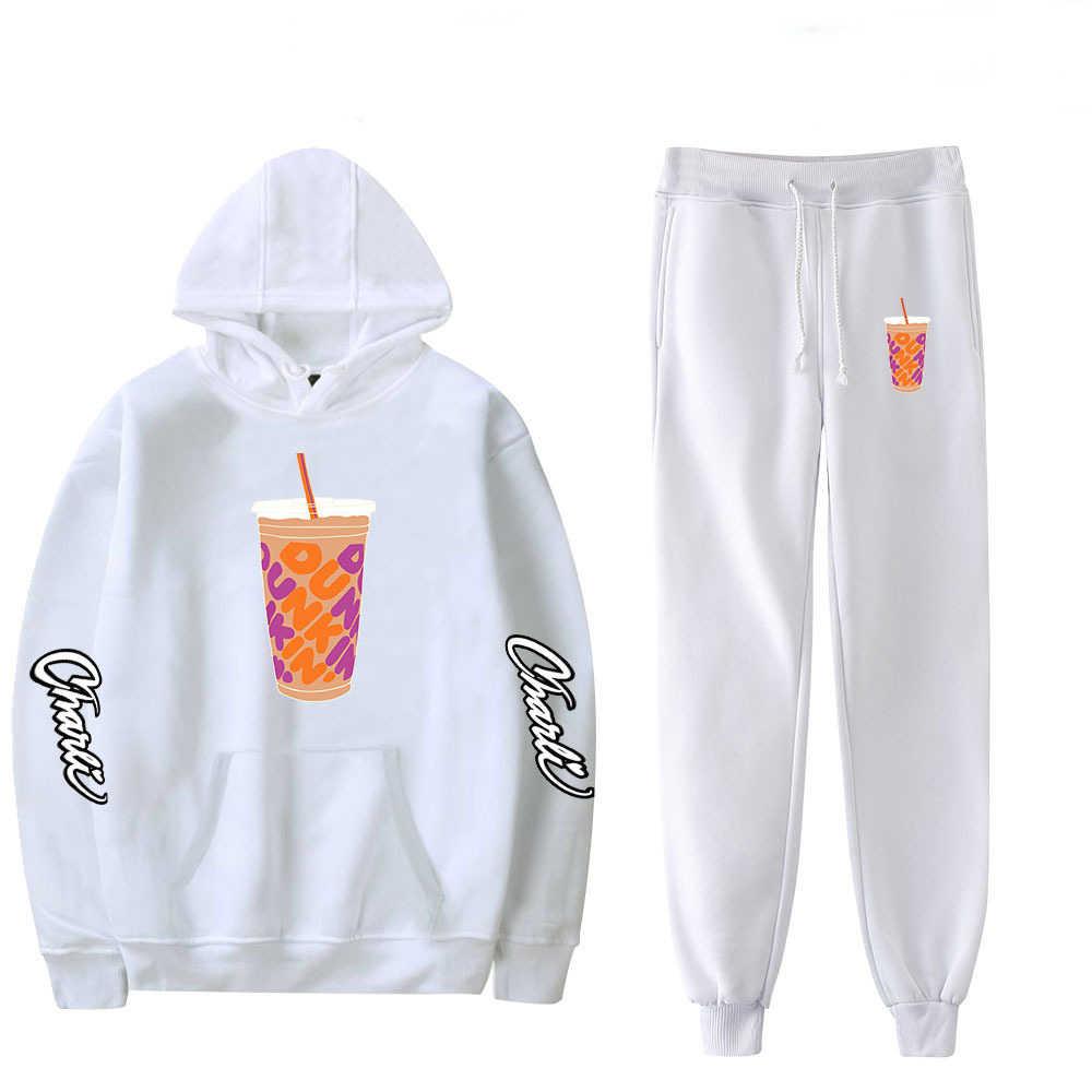 New Charli Damelio Merch Sportsuit Sweatshirt Sweatpants Suit Ice Coffee  Splatter Trousers Sets Unisex Clothes Bottom Sport Suit|Women's Sets