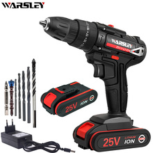 WARSLEY 25V Cordless Electric Screwdriver Cordless Power Tools Handheld Drill 1.5AH Lithium Battery Charging Drill + Gift 25v multifunction power tools cordless electric drill electric screwdriver with lithium battery rechargeable miniature drill