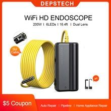 Deepstech – caméra d'inspection d'endoscope automobile sans fil WiFi, Tube d'endoscope serpent pour tuyau de ventilation sous-marine, réparation de moteur de voiture