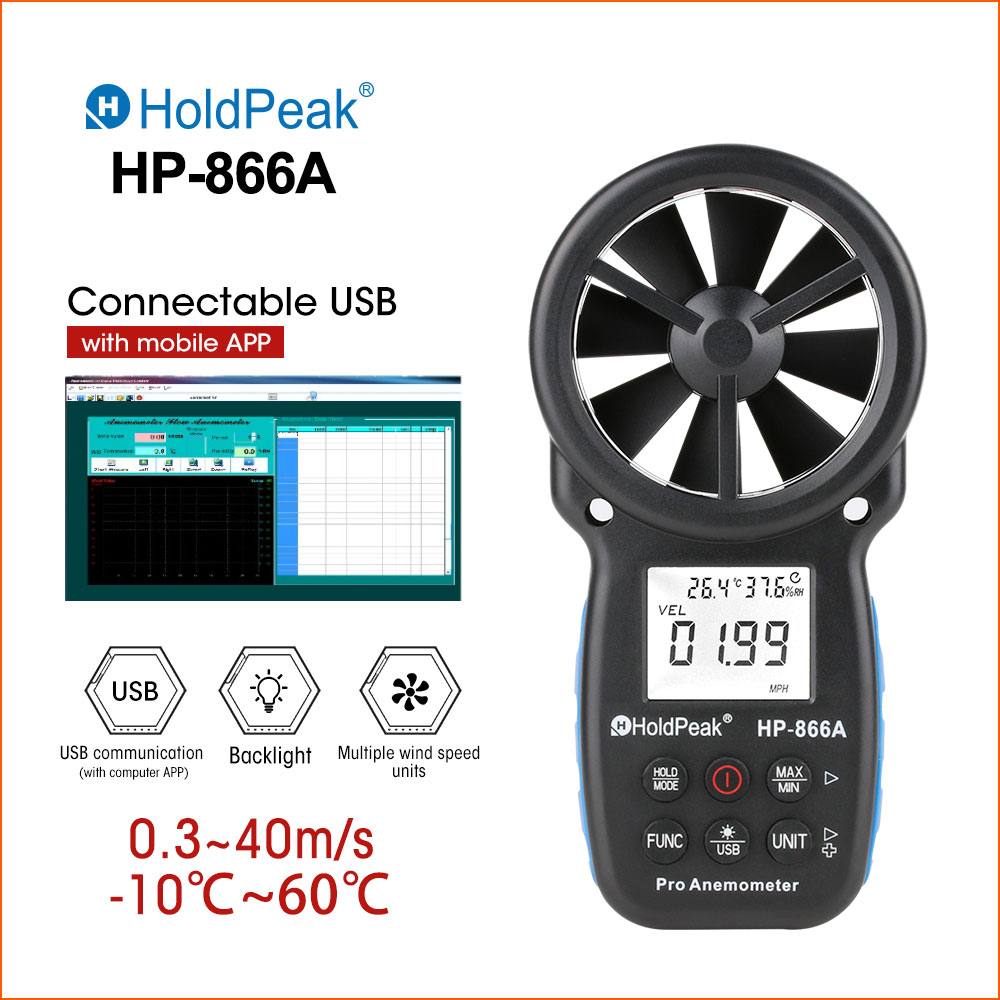 HoldPeak LCD Digital Anemometer Thermometer Wind Speed  Measurement Air Velocity Wind Sensor Handheld Anemometer