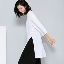Spring and summer new style Loose sweater Long section of thin hedging  t-shirt Split