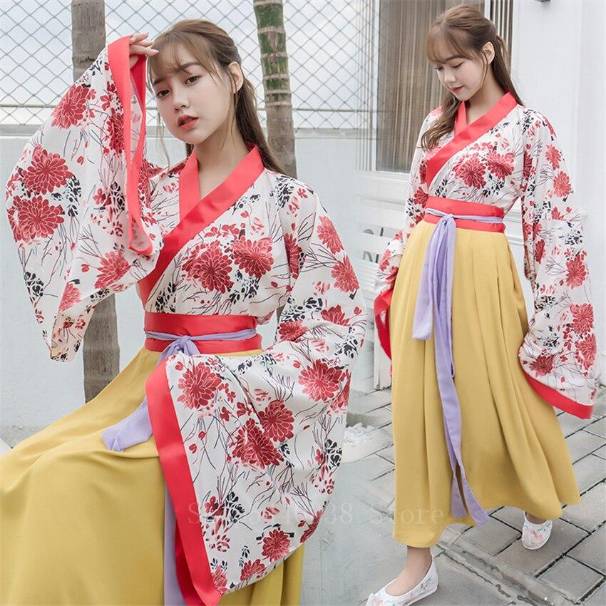 Woman Kimono Dress Japanese Style Floral Stage Party Yukata Fairy Casual Asian National Chinese Hanfu Cosplay Clothing Set