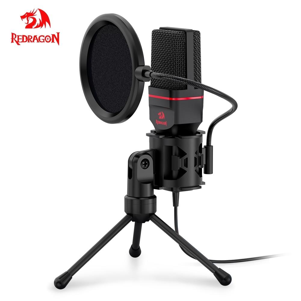 Micrófono condensador Omni Redragon con trípode Audio 3,5mm micrófono de estudio de ordenador para ordenador teléfono Karaoke grabación teléfono