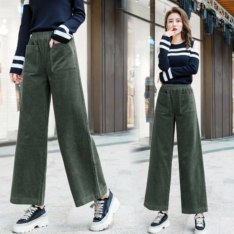 Women Corduroy Pants 2019 Autumn Winter New Fashion Warm Elastic Waist Loose Wide Leg Pant Vintage Casual Woman Corduroy Trouser