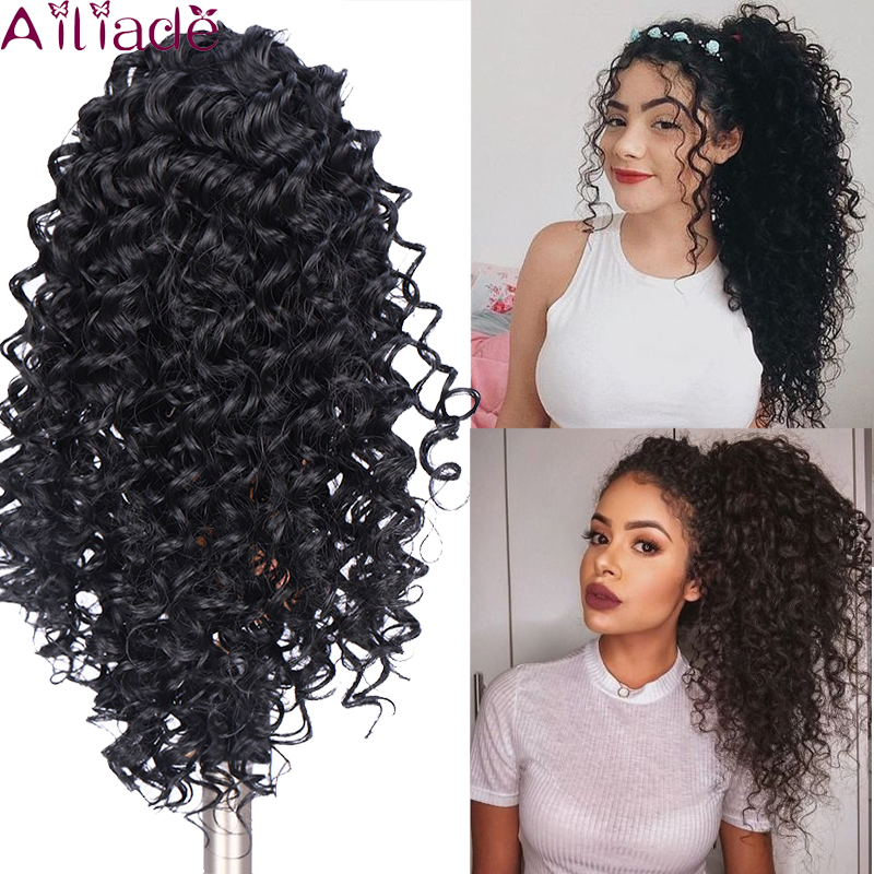 AILIADE Natural Black Afro Puff Kinky Curly Ponytail Synthetic Hair Bun Chignon Hairpiece For Women Updo Clip In Hair Extension