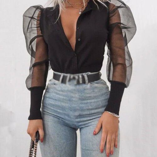 arrival New 2019 Women's V-Neck Shirt Tulle Ruffle Long Puff Sleeve Shirt Solid Lady Shirts All-Matching Autumn Women Tops 1