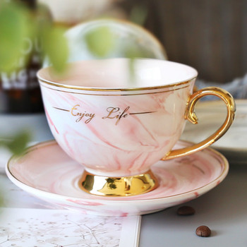 Luxury Nordic Marble Ceramic Coffee Cup with Spoon Textured Porcelain Cup Travel High Quality Teacup and Saucer Gift MM60BYD