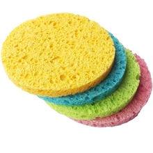 Esponja pulpa de madera Natural, 2 uds., compresa de celulosa, cosmético, Puff, lavado Facial, cuidado Facial, limpieza removedor de maquillaje