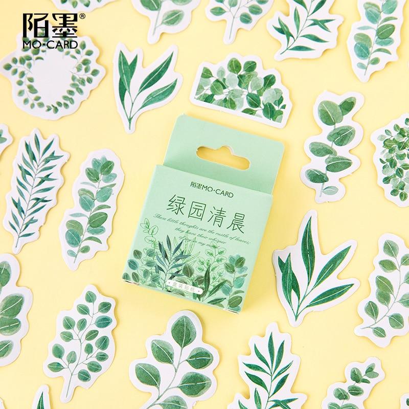 45pcs/pack Leaves Flower Paper Sticker Decoration Diy Album Diary Scrapbooking Label Sticker Kawaii Stationery