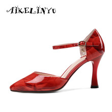 AIKELINYU Women Summer Sandals Fashion Genuine Leather Lady Elegant High Heel Side Hollow Red Bride