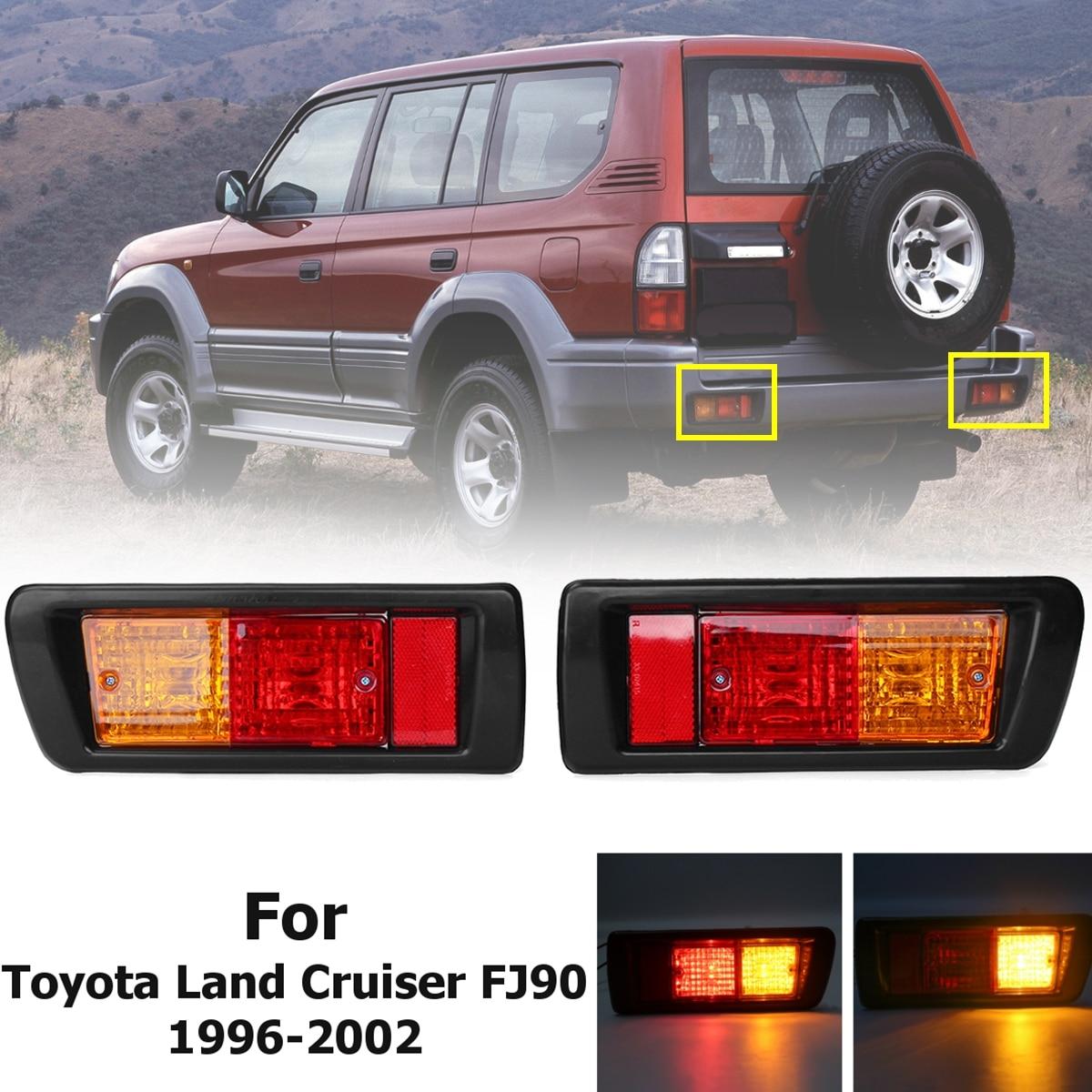 2x Rear Bumper Reflector Light Lamp Warning Brake Taillight for Toyota Land Cruiser Lc90 FJ90 1996 1997 1998 1999 2000 2001 2002