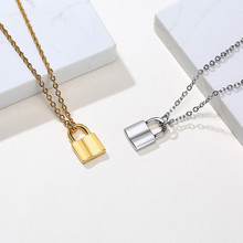 Modyle New Punk Tiny Lock Choker Necklace Stainless Steel Padlock Pendant Gold And Silver Color Charm Small Daily Jewelry