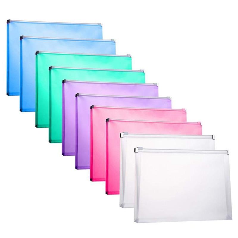 10 Packs Plastic Zip Envelopes Letter Size Holder File Document Receipt Envelope Folders Assorted Color Office Supplier