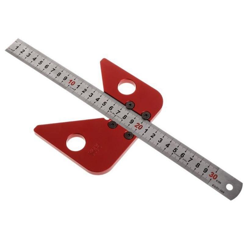 Aletler'ten Göstergeler'de 45 derece açı Scribe yuvarlak merkez hattı yazı marangoz yuvarlak kalp cetvel aracı M17E title=
