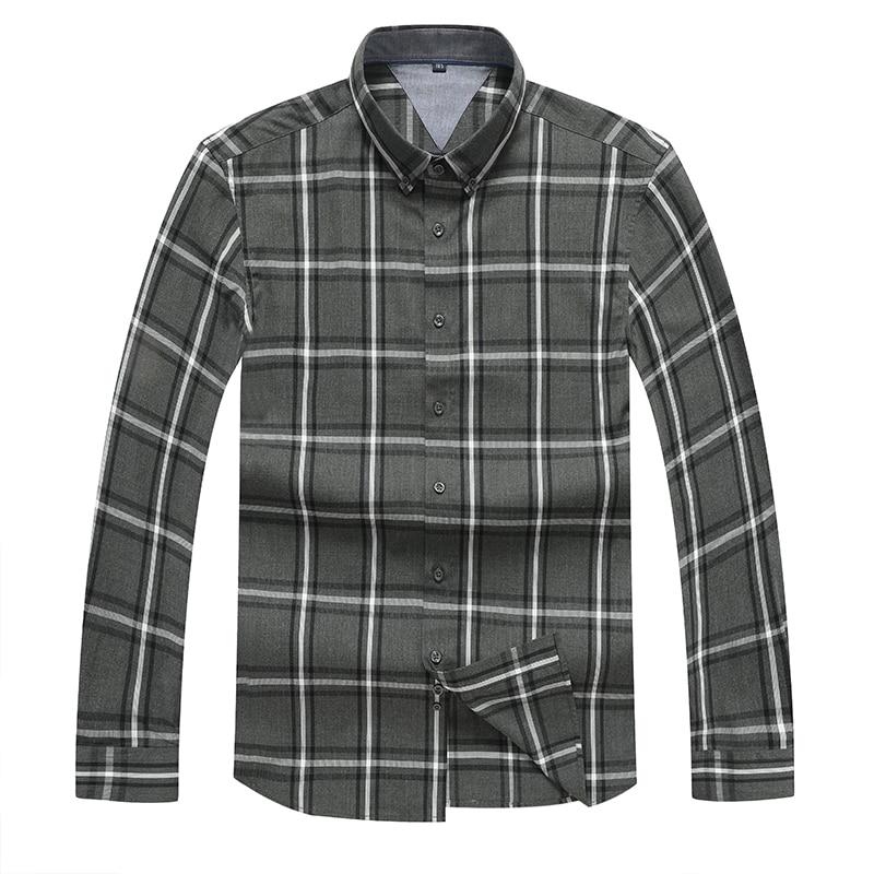 8XL 7XL Plus Size Casual Spring Luxury Plaid Long Sleeve Men Shirt Streetwear Social Dress Shirts Mens Fashions Jersey