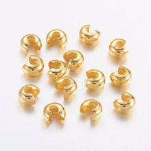 100pcs Brass Crimp Beads Covers 4mm For Bracelet Necklace End Connector Accessories Nickel Free,hole: 2mm