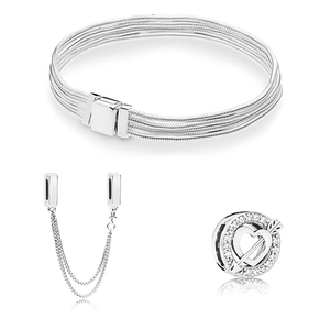 Image 3 - s925 silver color Safety chain and Cupid Arrow Fit Original Bracelet Gift Set for Women Bead Charm Bracelet DIY Jewelry