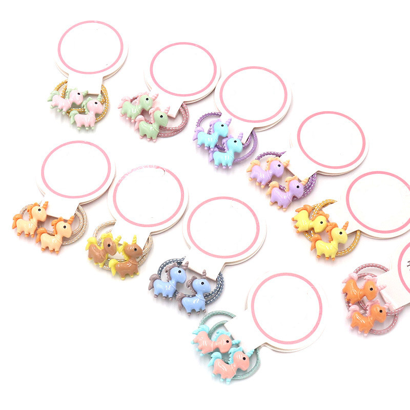 1 Pair Girl Unicorn Elastic Hair Bands Hair Accessories 2020 Gum For Hair Ponytail Rubber Bands Holder Rubber Band Headband