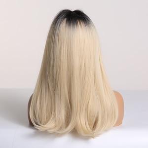 Image 3 - ALAN EATON Ombre czarny jasny blond peruki syntetyczne długie proste kobiety peruki z grzywką Bobo peruki naturalne wysokiej temperatury włókna