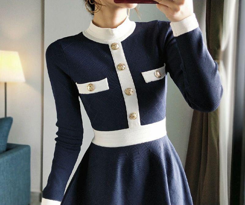Élégant robe pull 2019 automne hiver col montant simple boutonnage à manches longues robe a-ligne robe tricotée élégant P-274 robes - 4