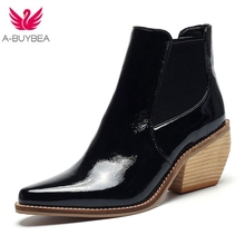 цена на Western Cowboy Boots For Women Pointed Toe Western Boots Leather Ankle Women Boots Block Wedges Boots Autumn Winter botas