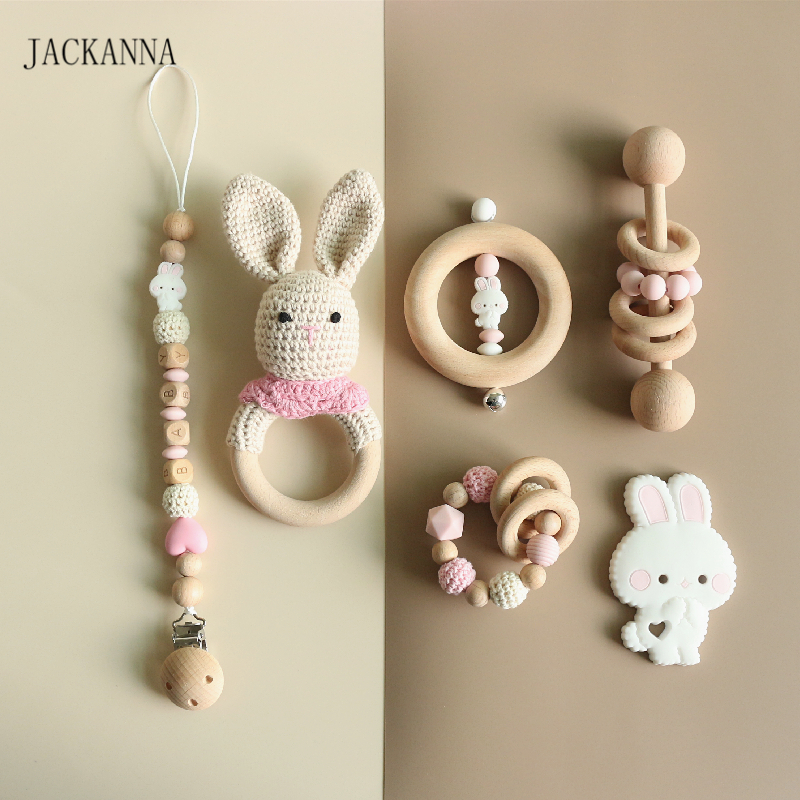 Personalise Baby Pacifier Clips Teething Bracelets Crochet Rabbit Soother Holder Chain Baby Rattle Teether Newborn Dummy Clips
