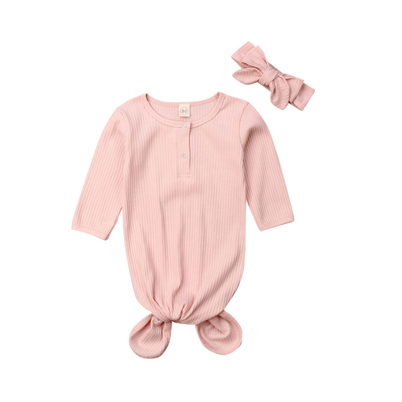 Long Sleeve Solid Swaddle Sleeping Bags Toddler Infant Baby Girl Boy Pit Stripe Cotton Wrap Blanket Headband Outfit Pink Beige