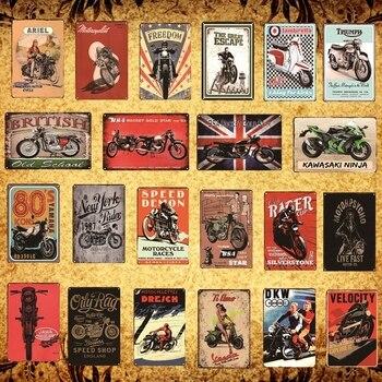 [Luckyaboy] Retro motocykl metalowe plakietki emaliowane plakat w stylu Vintage Pub domu Hotel Bar klub kawiarnia sklep wystrój AL020