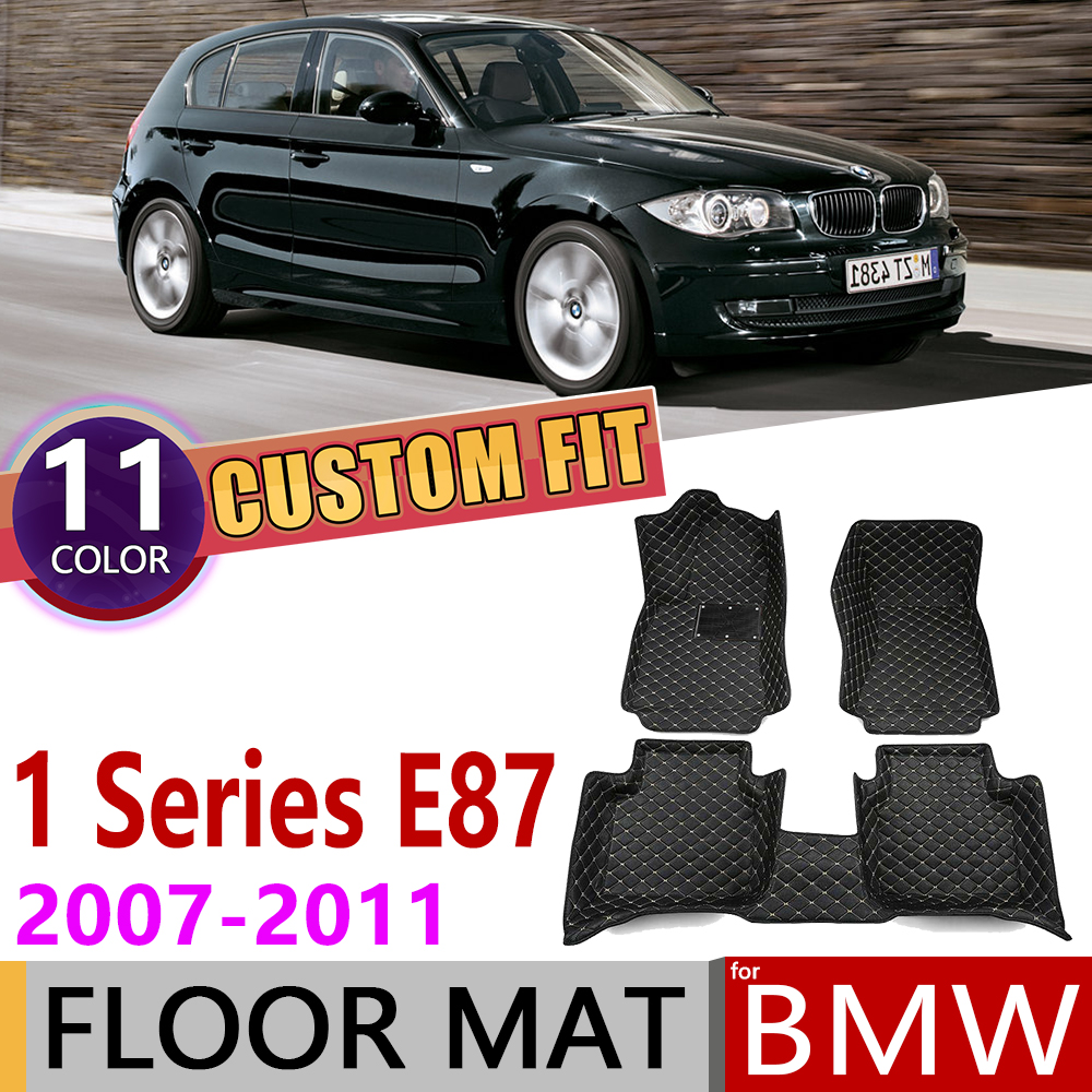 Custom Leather Car Floor Mat For BMW 1 Series E87 5-door Hatch 2007~2011 5 Seats Auto Foot Pad Carpet Accessories 2008 2009 2010
