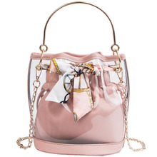 Trend Woman Messenger bag Fashion Handbags Transparent Chain Metal Crossbody Bags Bowtie Composite Tote