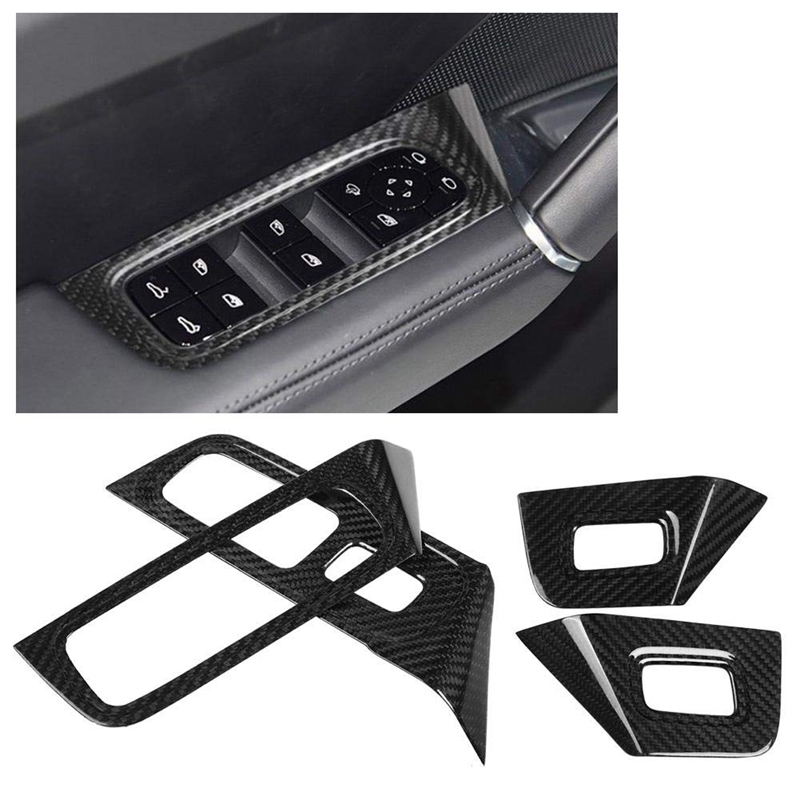 Car Styling ABS Car Interior Door Window Lift Switch Panel Covers Frame Trim Stickers Trim Auto Stickers Accessories For-Porsche