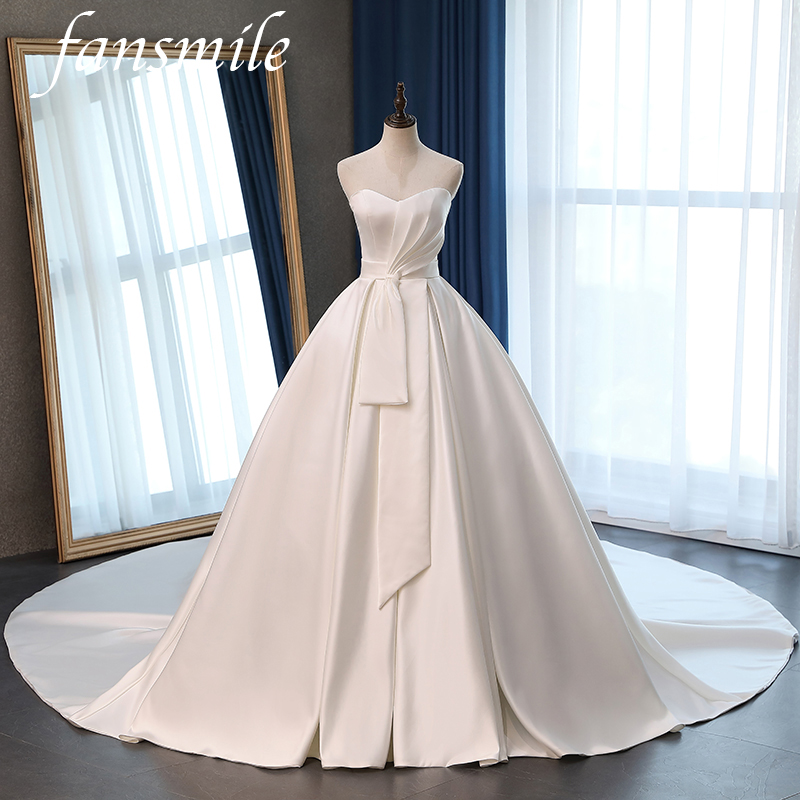 Fansmile Satin Vestido De Noiva Elegant Ball Gowns Wedding Dress 2020 Long Train Bridal Ball Gowns Plus Size Customized FSM-072T