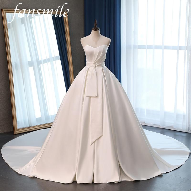 Fansmile Satin Vestido De Noiva Elegant Ball Gowns Wedding Dress 2020 Long Train Bridal Ball Gowns Plus Size Customized FSM-072T