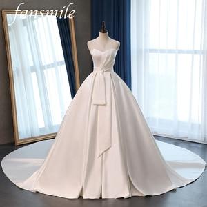 Image 1 - Fansmile saten Vestido de Noiva zarif balo elbisesi düğün elbisesi 2020 uzun tren gelin balo elbisesi artı boyutu özelleştirilmiş FSM 072T