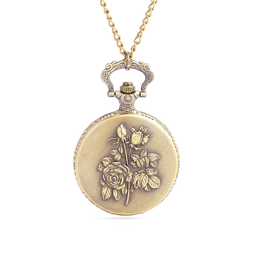 Retro Personality Exquisite Gift Souvenir Embossed A Bouquet Of White Face Roman Lettering Large Flip Pocket Watch