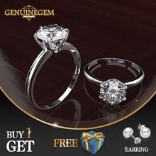 Jewepisode Classic Solid font b 925 b font Sterling silver lab diamond Zircon Wedding Engagement font