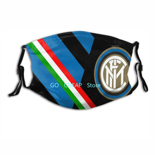 Italy Inter Milan Football Club Logo Face Mask Dust-Proof Breathable Reusable Cloth Masks Washable for Adults Kids Mascherina