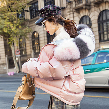 Women's Winter Silver Jacket Down Jacket Real Fox Fur Collar White Duck Double-sided Down Parka Outerwear Thick Warm Glossy Coat image