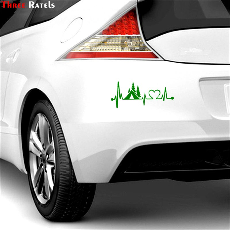 Three Ratels FTZ 44 20x8 6cm Tent Camper Heartbeat Lifeline Monitor Camping Decal Sticker Car Truck Car Styling Vinyl Decals in Car Stickers from Automobiles Motorcycles
