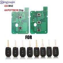 Jingyuqin 10ps Remote Key 2/3 Taste 434MHZ Mit 4A PCF7961M Chip Für Renault Sandero Dacia Logan