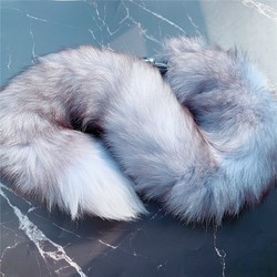 Soft Real Fox Fur 100cm Tail Metal Anal Plug Stainless Steel Butt Plug Erotic Women Adult Sex Accessories For Couples 3sizes