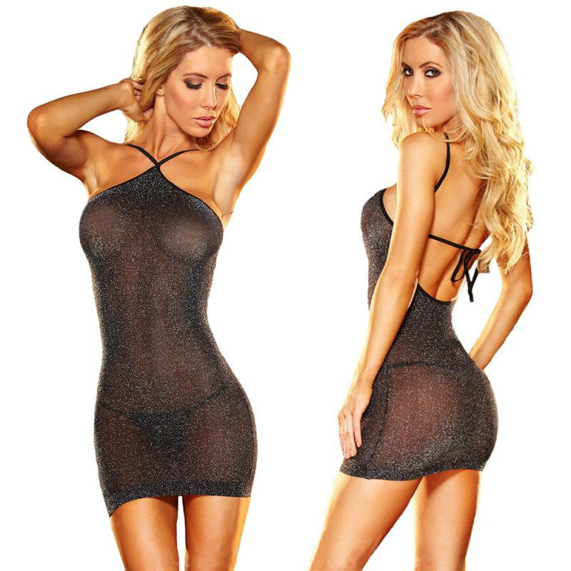 Sexy Halter Silver Dress Hot Girl Sexy Sling Nightclub Silver Silk Uniform Temptation Ladies Strap Dress Bling Free Size Pajamas