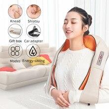 Masseur électrique Shiatsu en forme de U pour le dos, le cou, les épaules, chauffant à infrarouge 4D, pétrissage pour voiture et maison