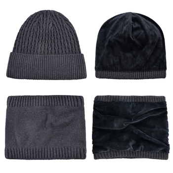 Warm Hat Sets For Men Winter Knitted Beanie And Scarf Set Thick Knitting Solid Color Skullies Bonnet Double Layer Add Velvet Cap 2