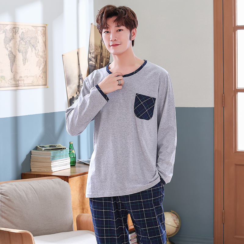 Spring Autumn Full Cotton Men's Pyjamas Plaid Pants Pajamas Set Casual Male Sleepwear Night Pijama Hombre Plus Size 4XL Homewear